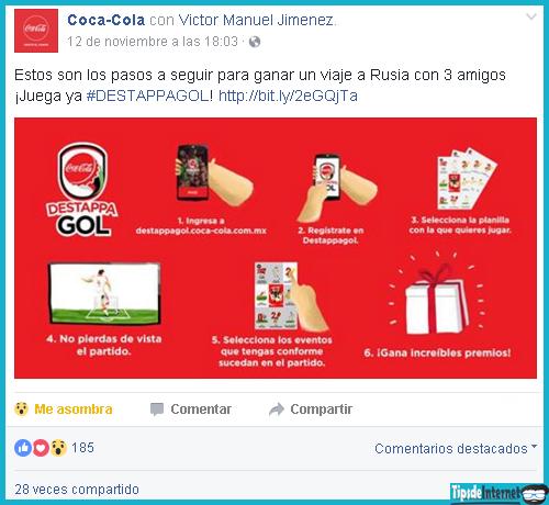 Publicación de la página de la Coca-Cola en la que hacen participar a sus clientes mediante un juego.