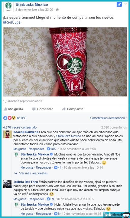 Publicación de la página de Starbucks México, cuya estrategia para poder lograr más ventas de su nuevo producto, se centra en la interacción con sus clientes.