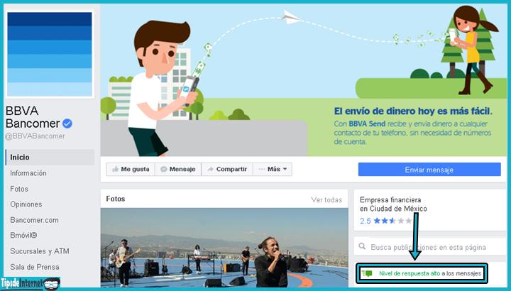 Página del banco BBVA Bancomer, cuyo nivel de respuesta ante los mensajes de sus usuarios es alto.