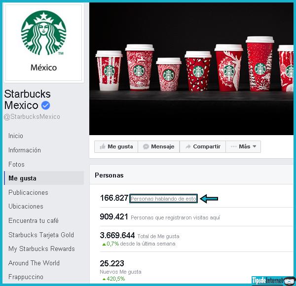 Estadística en la que se muestra que 166.827 personas han interactuado con la página de Starbucks México, en un periodo de 7 días.